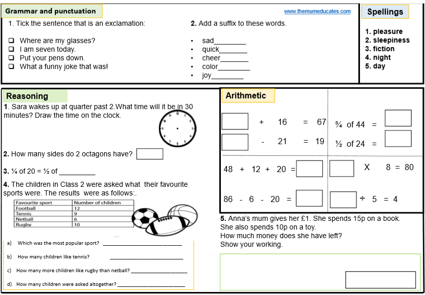FREE KS1 SATS Worksheets and Practice Papers - The Mum Educates