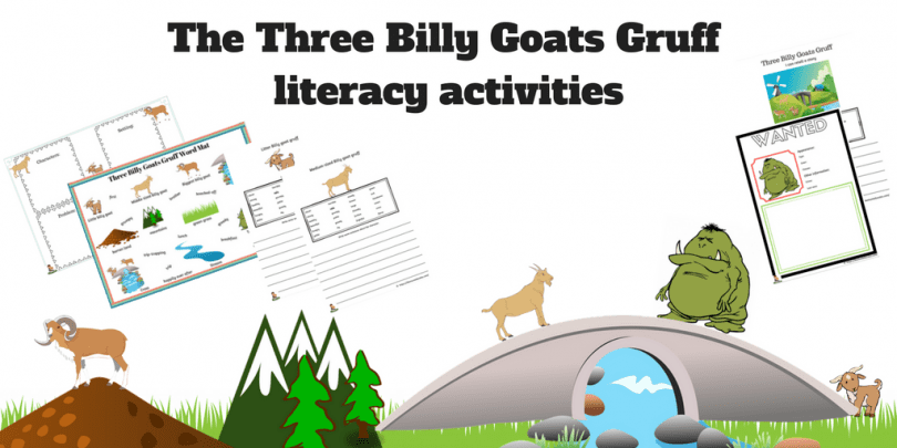 image about Three Billy Goats Gruff Story Printable known as The A few Billy Goats Gruff literacy pursuits + FREEBIES