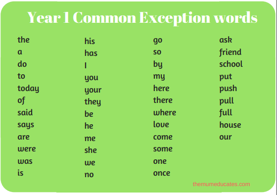 year 1 common exception words free worksheets the mum educates