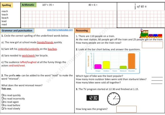 Year 3 FREE worksheets Math English