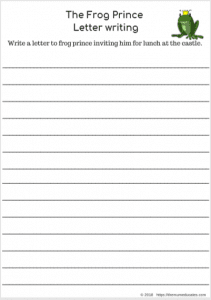 The Frog Prince (FREEBIES Literacy and Math worksheets) letter writting