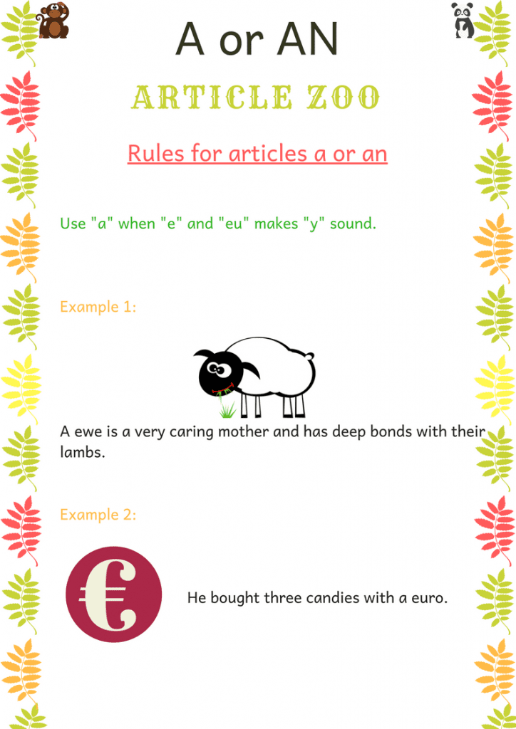 A or An Articles rules