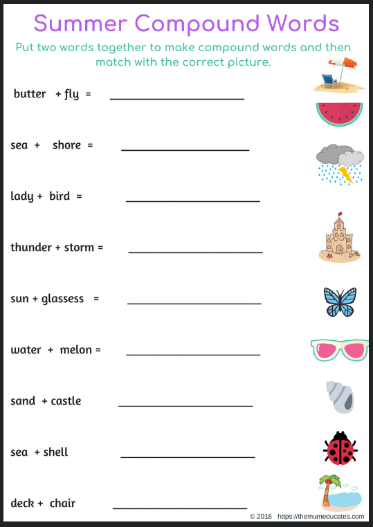 Summer Spelling Compound Words 2 The Mum Educates