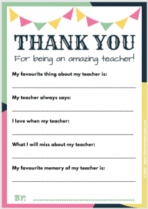 gift for Teacher free printable