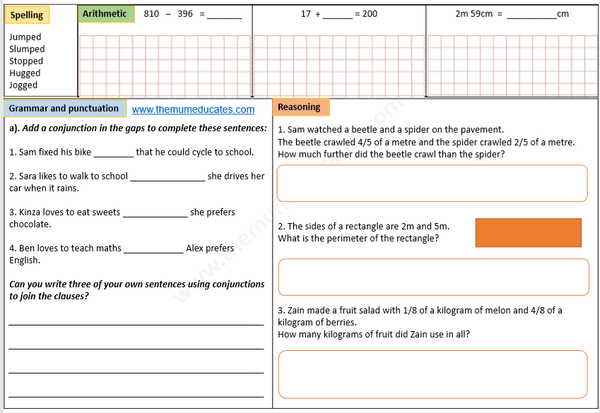 Year 3 Math and English worksheets - The Mum Educates