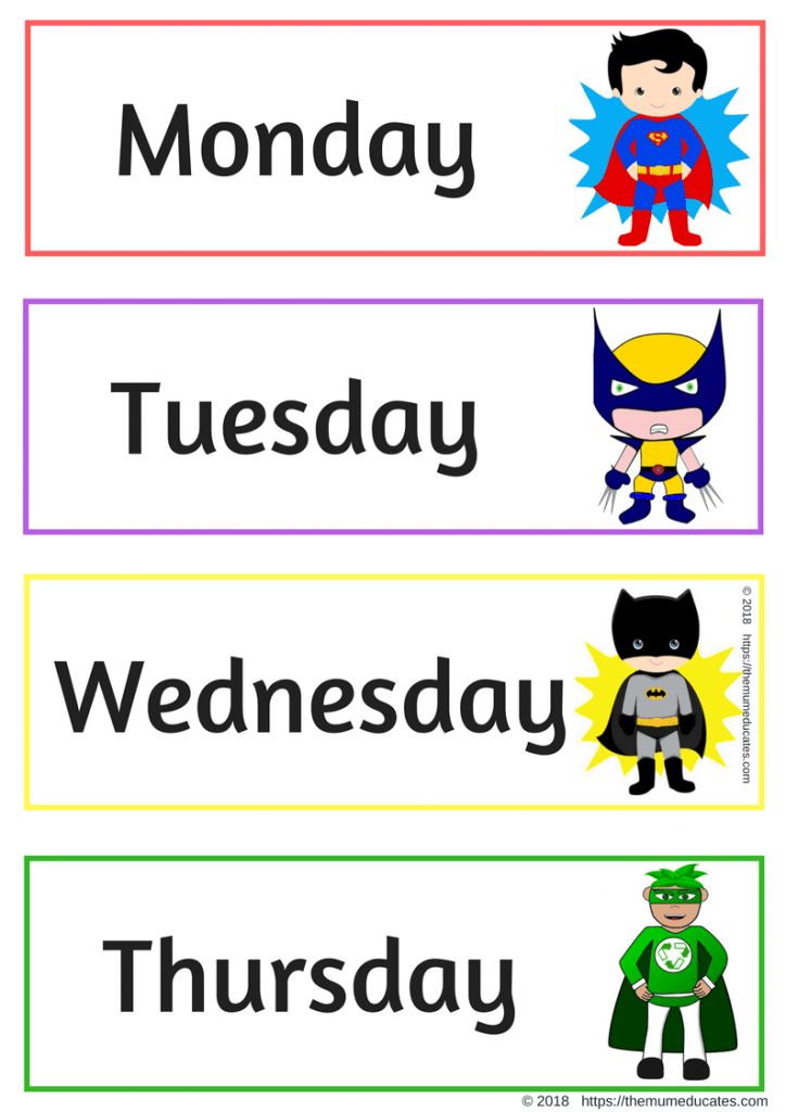 Amazing image with days of the week printable