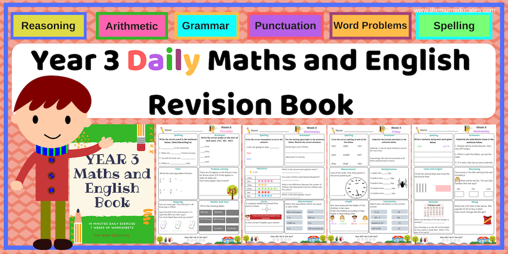 daily year 3 maths and english revision book the mum educates. Black Bedroom Furniture Sets. Home Design Ideas