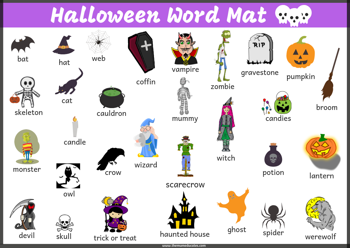 halloween word mat - free - the mum educates
