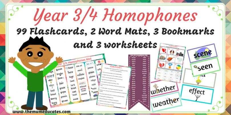 Year 3/4 Homophones Flashcards, Wordmat, Bookmarks & Worksheets
