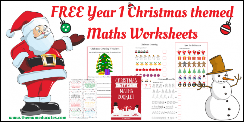 photo relating to Home and Family Christmas Workbook identified as 12 months 1 Xmas themed Maths Worksheets - The Mum Educates