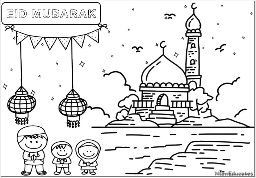 eid colouring sheet for kids