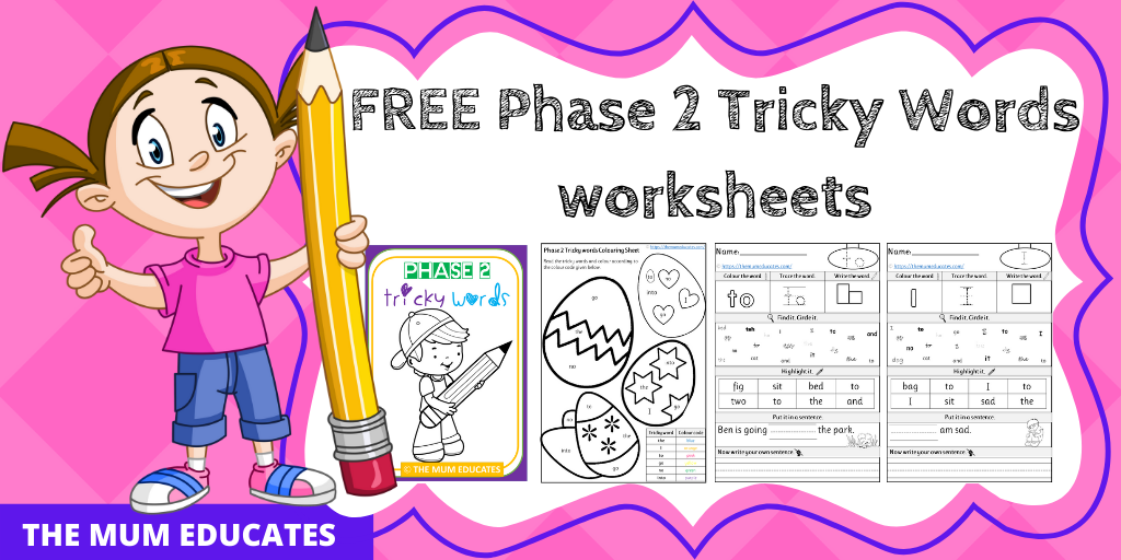 Free Phase 2 Tricky Words Worksheets Reception Early Years The Mum Educates