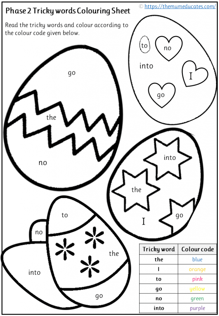 Phase 2 Tricky Words worksheets
