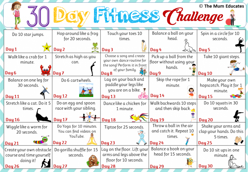 30-day Kids Fitness Challenge - Active kids - The Mum Educates