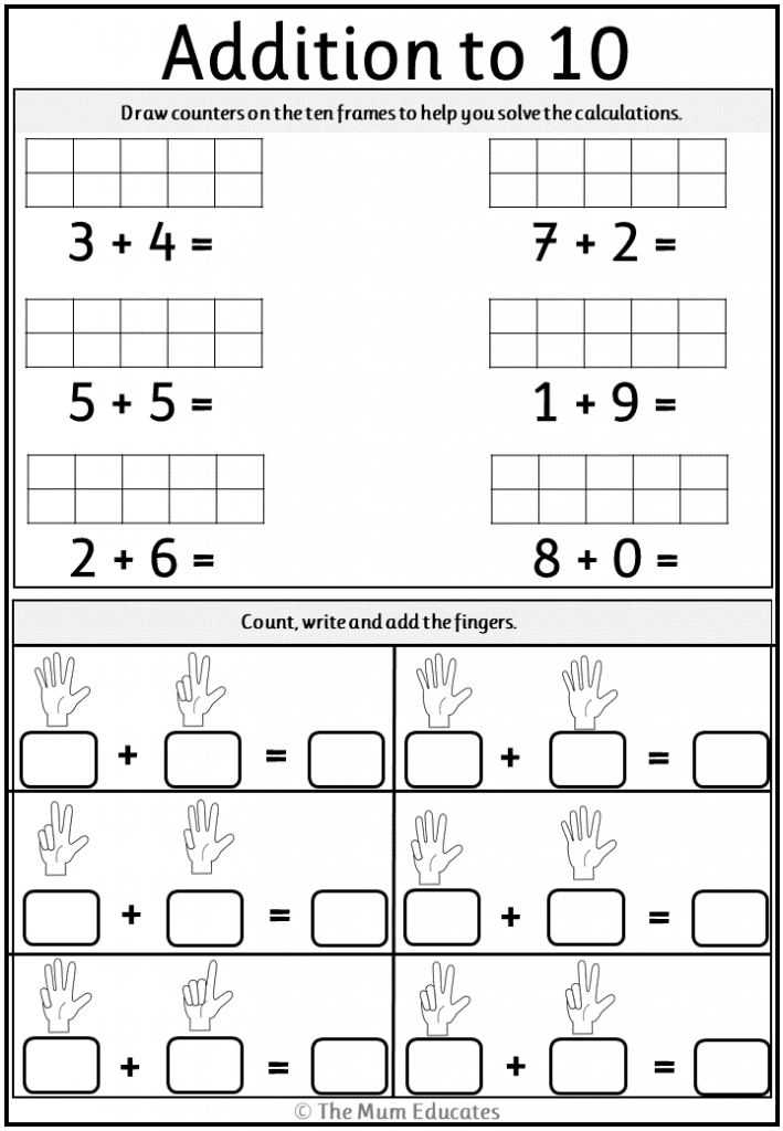 Addition Worksheets Year 1