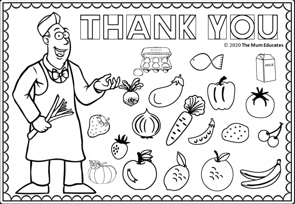 Grocer Colouring sheet