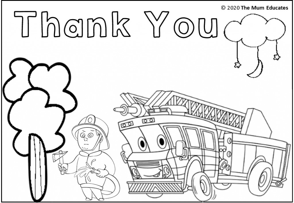 fire fighter colouring sheet