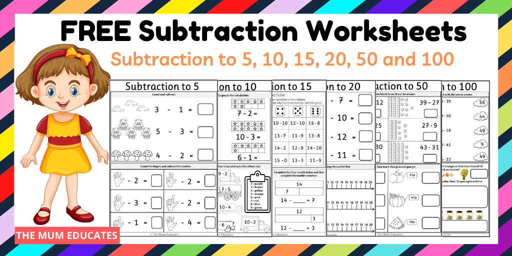 Free Subtraction Worksheets Year 1 Year 2 The Mum Educates