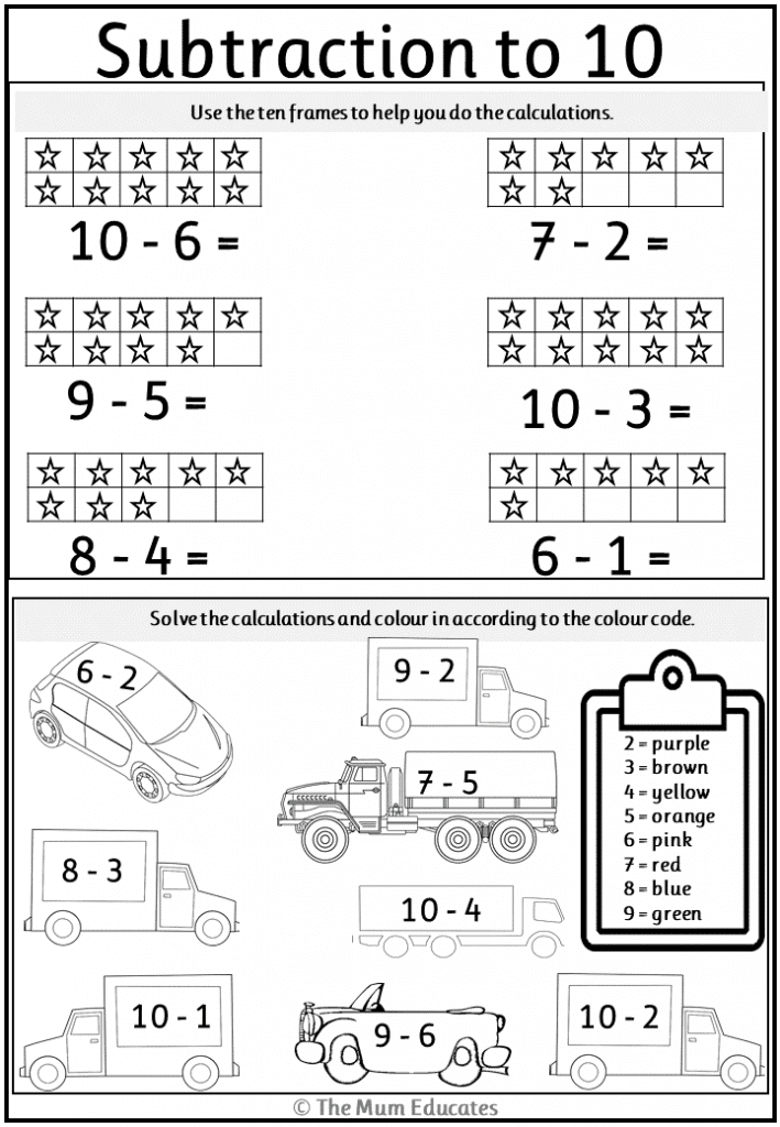 Subtraction worksheets Year 1