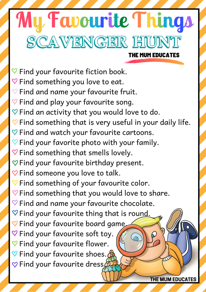 My favourite Things Scavenger Hunt for kids