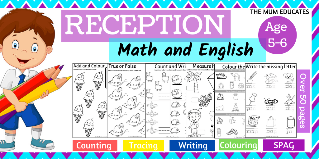 Reception Workbook - Math And English - Age 5-6 - The Mum Educates