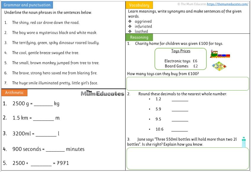 Free Year 4 worksheets