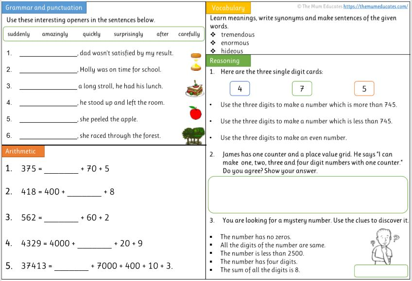 Year 4 worksheet