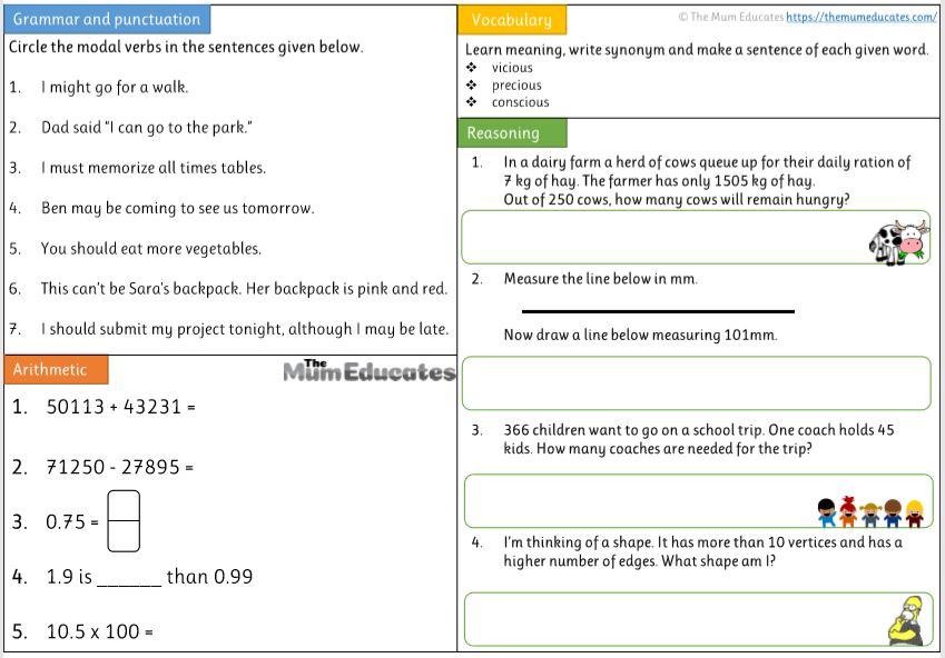 Free Year 5 worksheet
