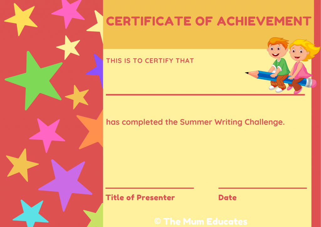 certificate of writing kids