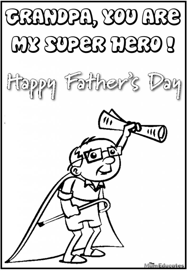 Grandpa superhero colouring page