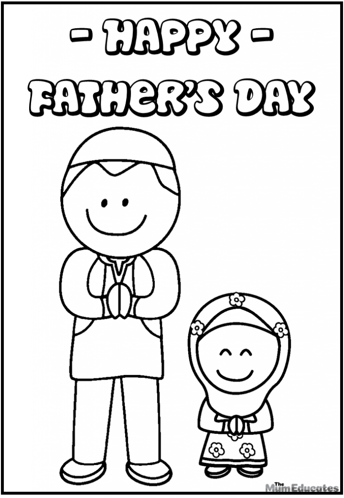 Muslim father and daughter colouring sheet