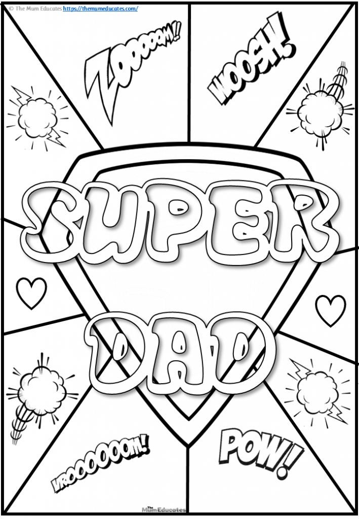Super Dad Colouring Pages for kids