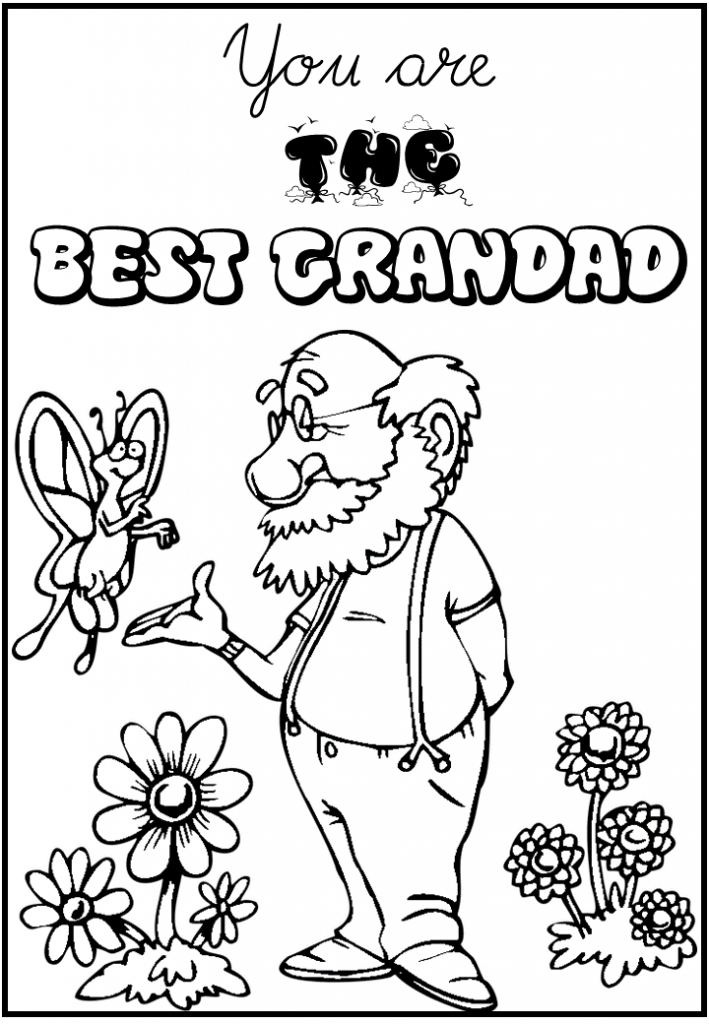 best grandad Colouring Pages for kids