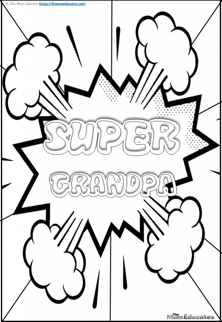 Super grandpa colouring page