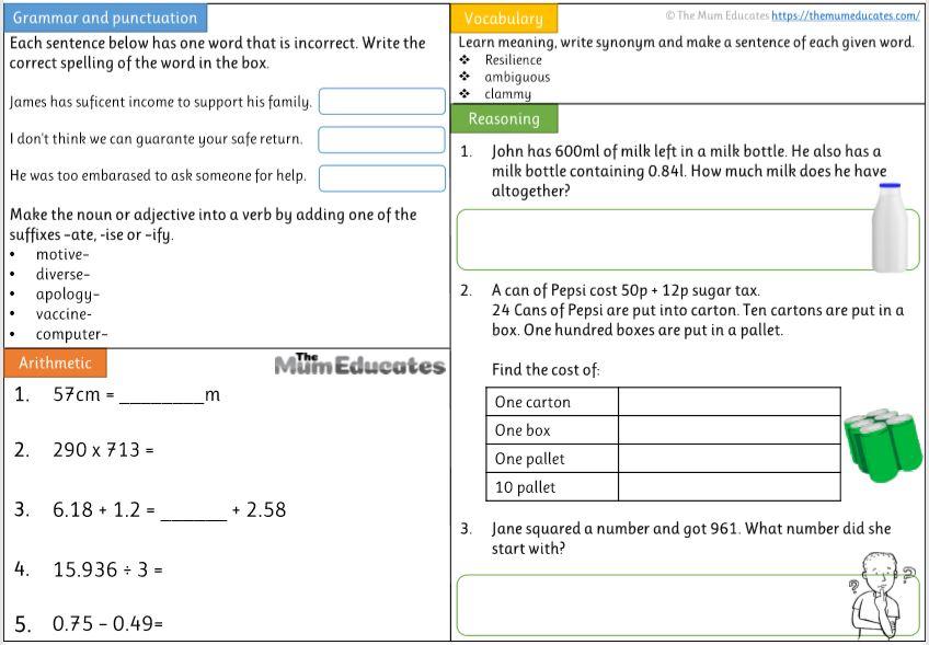 Year 5 english worksheet
