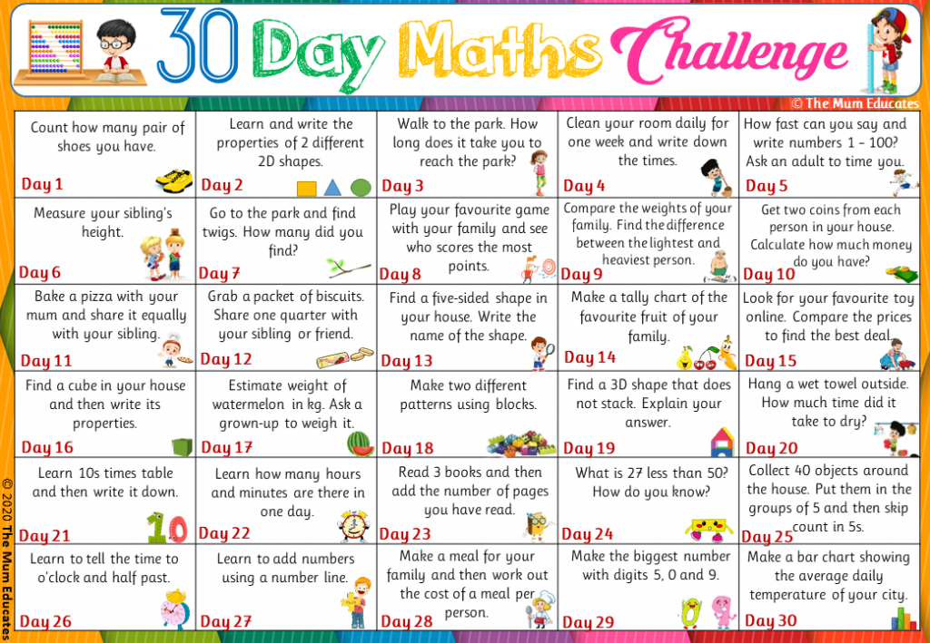 Kids Maths Challenge 30 day