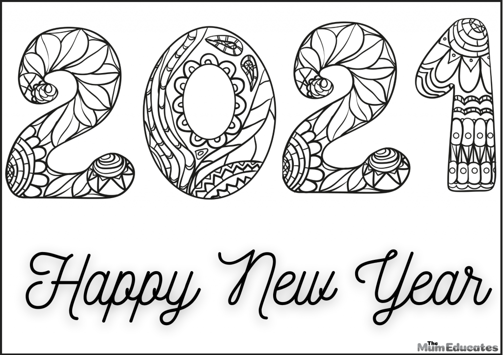 New Year Colouring Page 2021