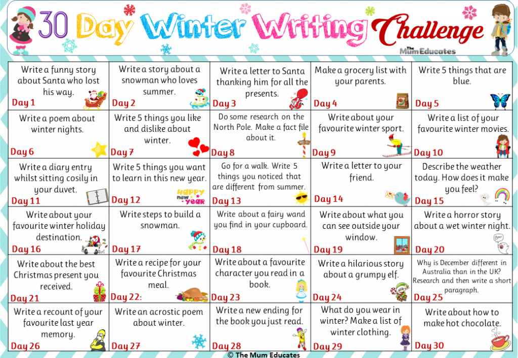 30 Day Winter Writing Challenge