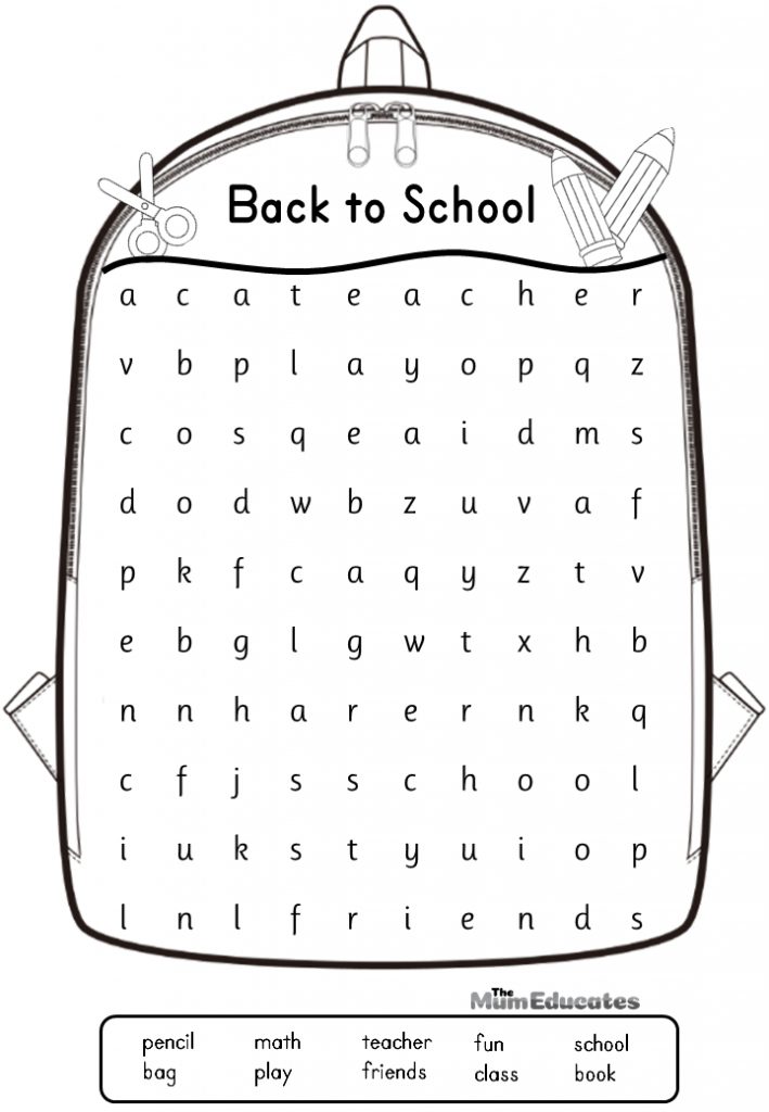 Back to school word search for kids