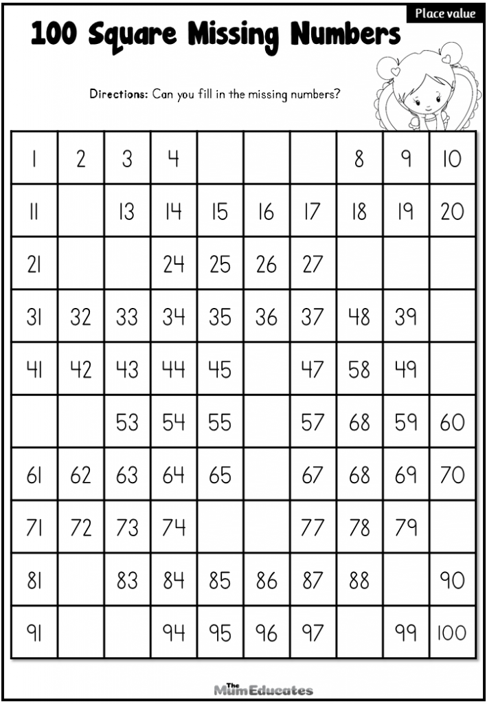 hundred Square missing numbers