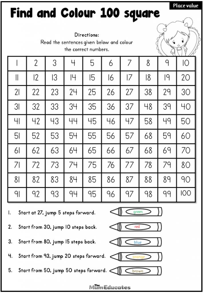Hundred Number Square worksheet